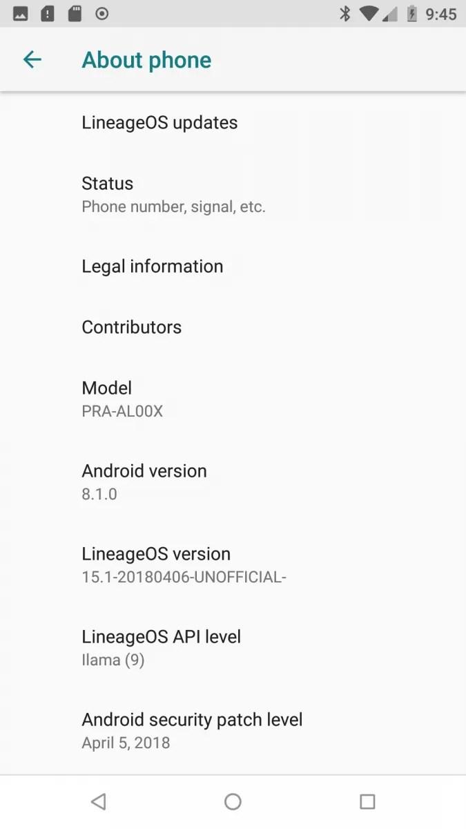 LineageOS 15.1 Huawei P8 Lite 2017 Honor 8 Lite