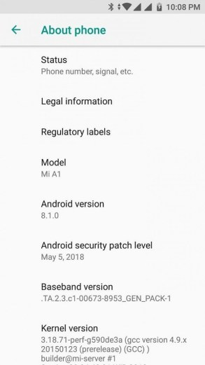 xiaomi m1 a1 android 8.1
