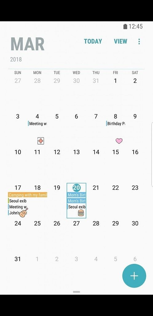 Samsung Calendar for the Samsung Galaxy S8 and Samsung Galaxy Note 8