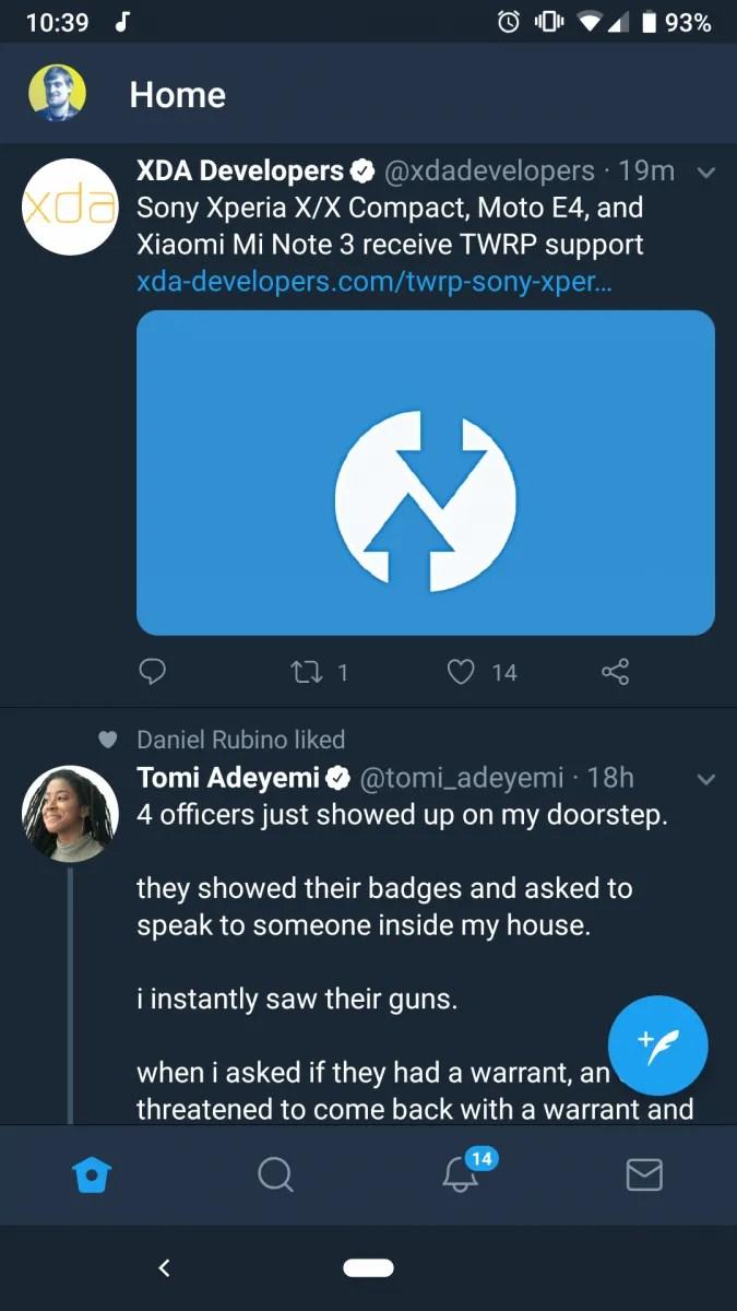 twitter bottom navigation bar