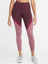 High-Rise Color-Blocked 7/8-Length Compression Leggings for Women