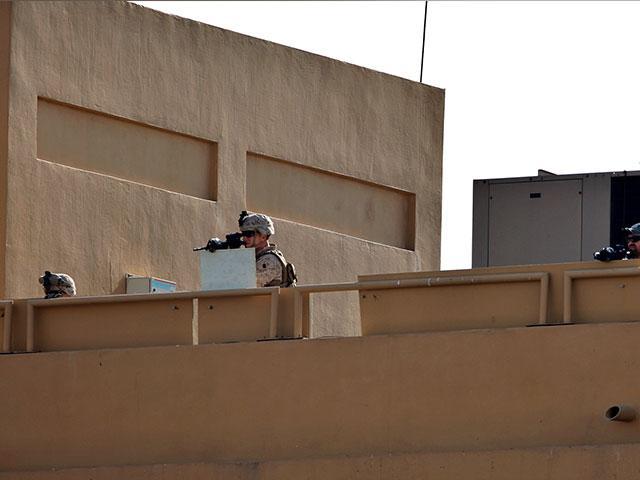 US troops guard US embassy in Baghdad (AP Photo)