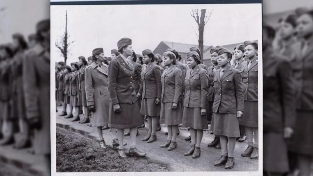In this photo provided by the U.S. Army Women's Museum, members of the 6888th battalion stand in formation in Birmingham, England, in 1945. (U.S. Army Women's Museum via AP)
