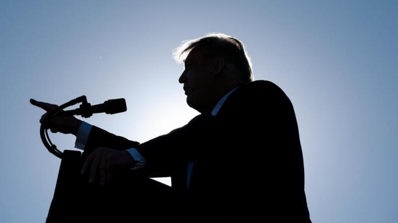 President Donald Trump speaks at a campaign rally at Carson City Airport, Sunday, Oct. 18, 2020, in Carson City, Nev. (AP Photo/Alex Brandon)