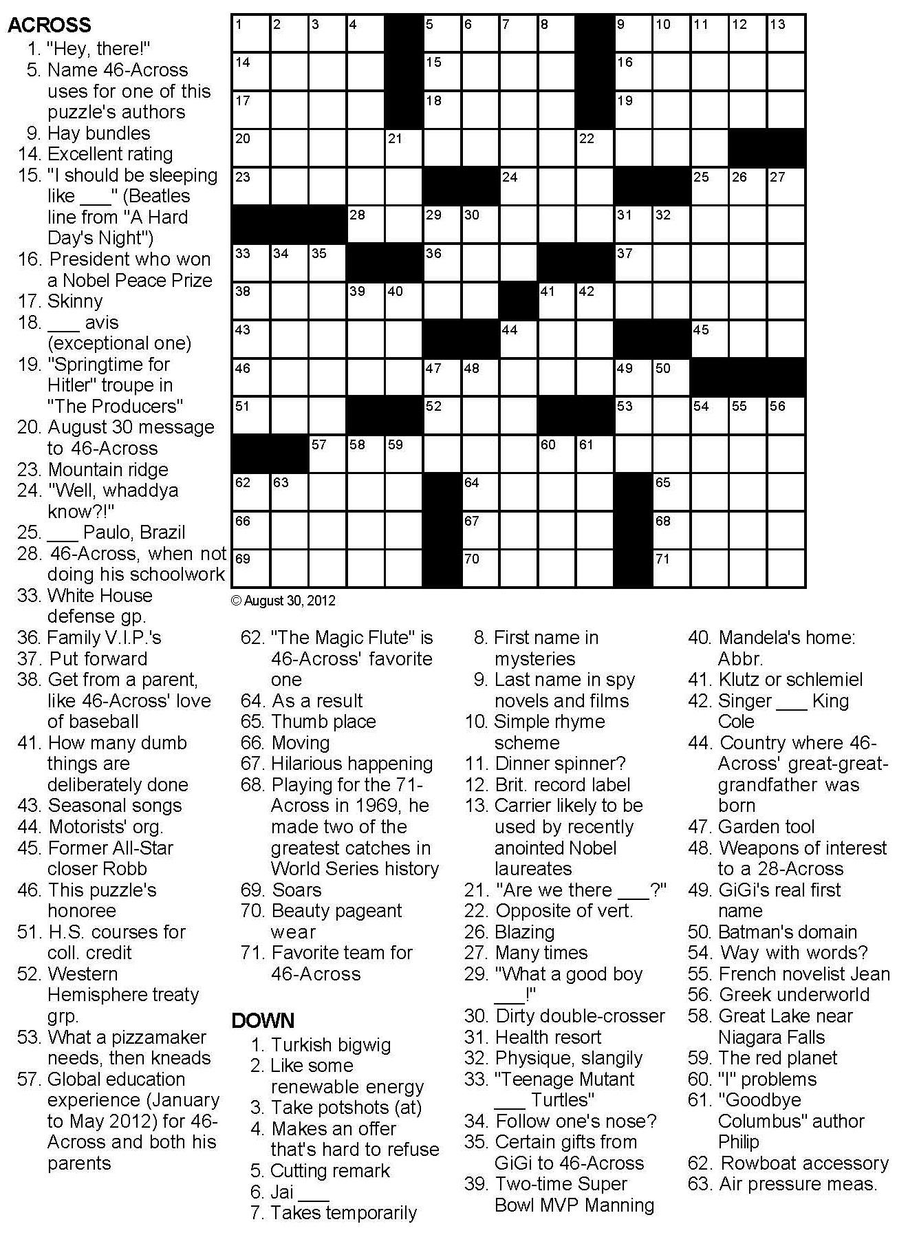 Birthday Crossword Puzzle