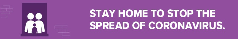 Icon showing people in window of building, staying home. Text reads: Stay home to stop the spread of coronavirus.