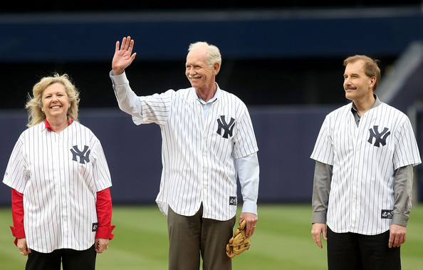 "(L-R) US Airways crew member Doreen Welsh, pilot, Captain Chesley ""Sully"" Sullenberger and co-pilot Jeffrey Skiles take the field prior to the game between the New York Yankees and the Chicago Cubs during their game on April 4, 2009 at Yankee Stadium in the Bronx borough of New York City.  (Photo by Nick Laham/Getty Images)  Chesley Sullenberger;Doreen Welsh;Jeffrey Skiles"