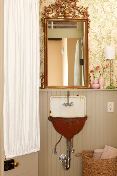 Bathroom A Rustic Vintage Sink Is Paired With An