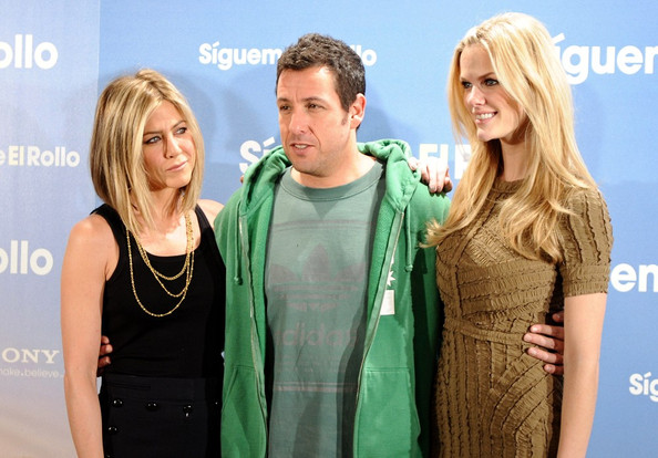"Adam Sandler Jennifer Aniston, Adam Sandler, and Brooklyn Decker attend a photocall for ""Just Go with It"" at the Villamagna Hotel."