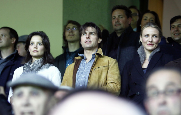 Tom Cruise, Katie Holmes and Cameron Diaz drink beers while at the soccer match of Sevilla vs Glasgow Rangers at the Sanchez Pizjuan stadium in Sevilla, Spain.