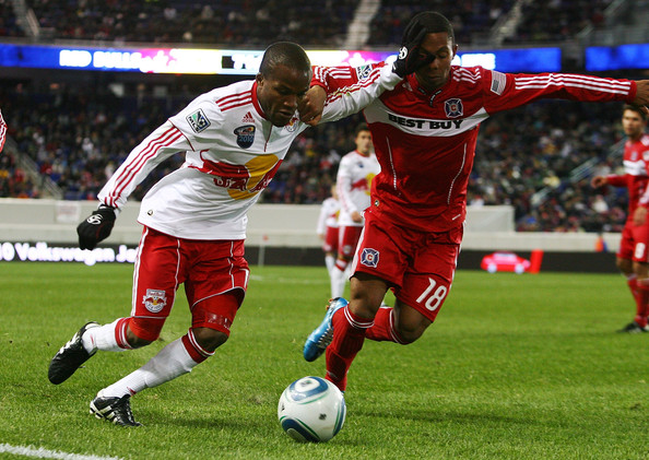 Mike Banner Mike Banner #18 of the Chicago Fire battles for the ball against Dane Richards #19 of the New York Red Bulls on March 27, 2010 at Red Bull Arena in Harrison, New Jersey. Red Bulls defeated the Fire 1-0.