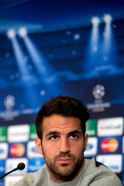 Cesc Fabregas of FC Barcelona answers questions from the media during a press conference the day before the UEFA Champions League Quarter-final second leg between Atletico de Madrid and FC Barcelona at Vicente Calderon Stadium on April 8, 2014 in Madrid, Spain.