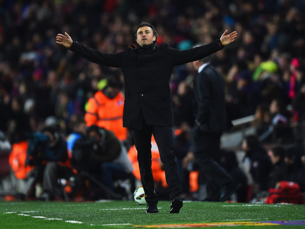 Luis Enrique manager of Barcelona reacts during the La Liga match between FC Barcelona and Real Madrid CF at Camp Nou on March 22, 2015 in Barcelona, Spain.