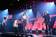 (L-R) Normani Kordei Hamilton, Camila Cabello, Dinah Jane Hansen, and Ally Brooke Hernandez of Fifth Harmony performs on the Honda Stage at iHeartRadio Theater on February 5, 2015 in Burbank, California.