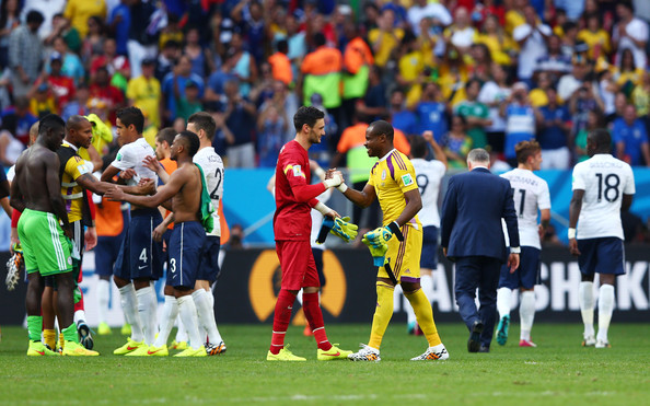 Goalkeepers Hugo Lloris of France and Vincent Enyeama of Nigeria shake hands after France's 2-0 win during the 2014 FIFA World Cup Brazil Round of 16 match between France and Nigeria at Estadio Nacional on June 30, 2014 in Brasilia, Brazil.