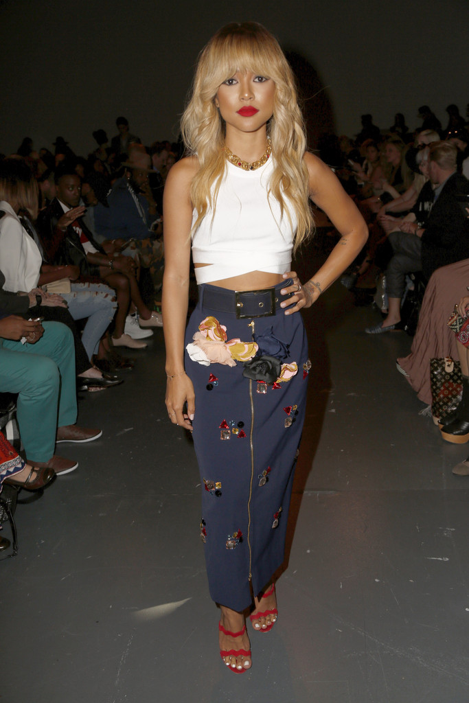 88471dc07c2d Steal Her Style: Karrueche Tran in Harbison Spring 2015 floral appliqué  pencil skirt – Michael Costello Front Row – Spring 2016 New York Fashion  Week
