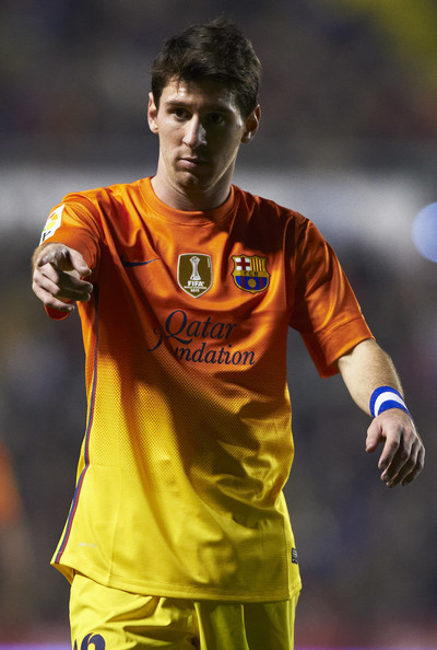 Lionel Messi of Barcelona reacts during the La Liga match between Levante UD and FC Barcelona at Ciutat de Valencia on November 25, 2012 in Valencia, Spain.