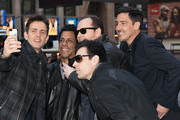 (L - R) Joey McIntyre, Danny Wood, Donnie Wahlberg, Jordan Knight, and Jonathan Knight of New Kids on the Block pose for a selfie during a press conference at Madison Square Garden on January 20, 2015 in New York City.