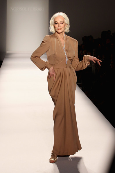 Model Carmen Dell'Orefice walks the runway at the Norisol Ferrari Spring 2013 fashion show during Mercedes-Benz Fashion Week at The Studio at Lincoln Center on September 10, 2012 in New York City.