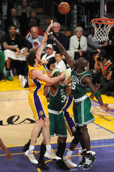 Kevin Garnett and Pau Gasol - NBA Finals Game 6:  Boston Celtics v Los Angeles Lakers
