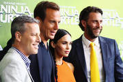 "Brad Fuller, Will Arnett,Megan Fox and Andrew Form arrive at the Sydney Premiere of ""Teenage Mutant Ninja Turtles"" at The Entertainment Quarter on September 7, 2014 in Sydney, Australia."