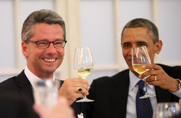 Ulrich Grillo Ulrich Grillo, president of the Federation of German Industries (BDI) (L), toasts his glass next to U.S. President Barack Obama at a dinner at the Orangerie at Schloss Charlottenburg palace on June 19, 2013 in Berlin, Germany. Obama is visiting Berlin for the first time during his presidency and his speech at the Brandenburg Gate is to be the highlight. Obama spoke close to the 50th anniversary of the historic speech by then U.S. President John F. Kennedy in Berlin in 1963, during which he proclaimed the famous sentence: 'Ich bin ein Berliner.'