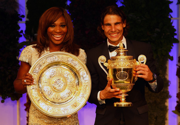 Serena Williams of USA and Rafael Nadal of Spain with their winners trophies at the Wimbledon Championships 2010 Winners Ball at the InterContinental Park Lane Hotel on July 4, 2010 in London, England.