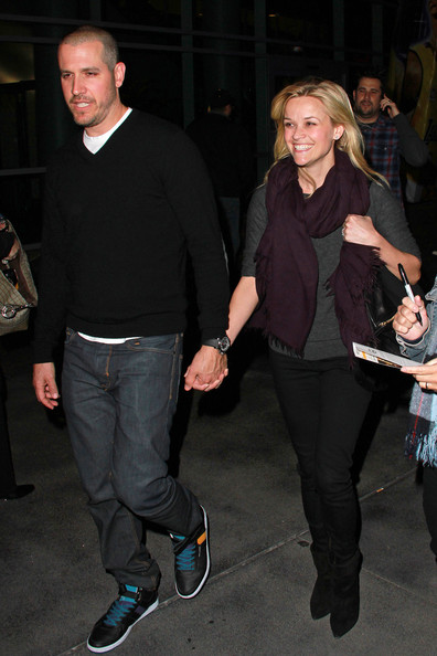 Jim Toth A beaming Reese Witherspoon and her fiance Jim Toth leave the