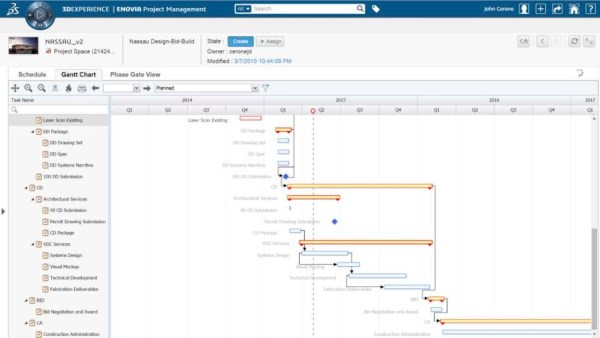 """3DEXPERIENCE Viewing the schedule as a """"component"""" attached to a design detail can help keep projects on time"""