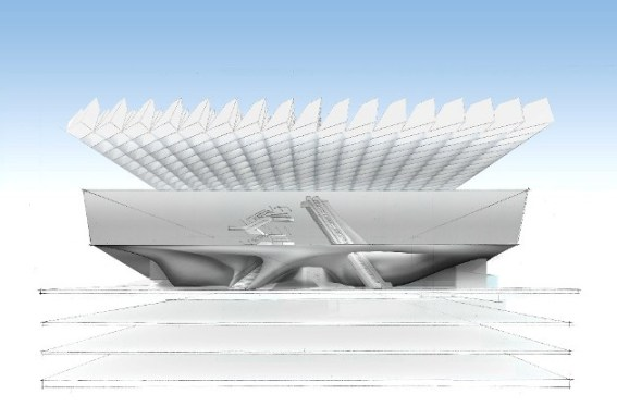 "Architectural rendering of the ""veil"""