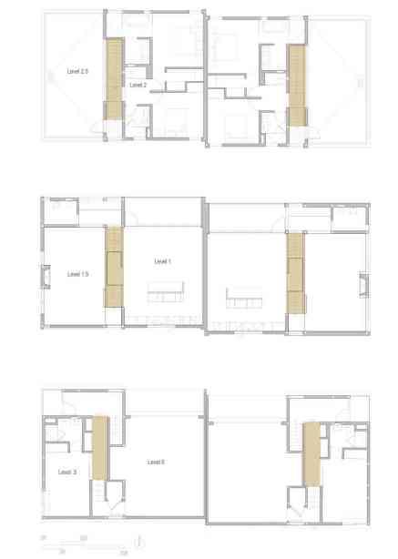 Floor plans showing the split-level layout