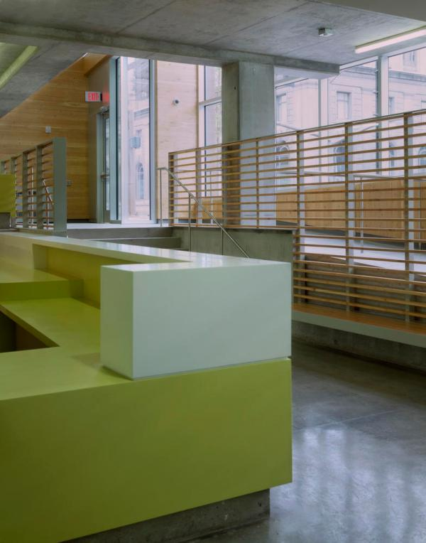 Generous daylighting implemented at one of Bud Clark Common's reception desks. - Photo Credit: Sally Schoolmaster