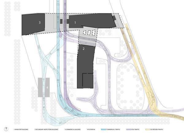 Vehicle Circulation Diagram, Image Courtesy © Snow Kreilich Architects