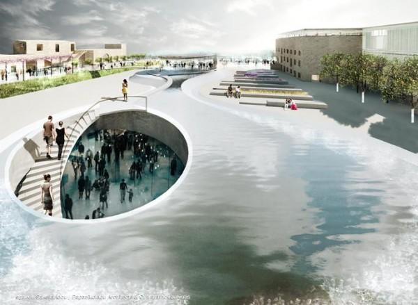 The Square and the water element, Image Courtesy © sparch Sakellaridou/ Papanikolaou Architects & Ch. Marathovouniotis