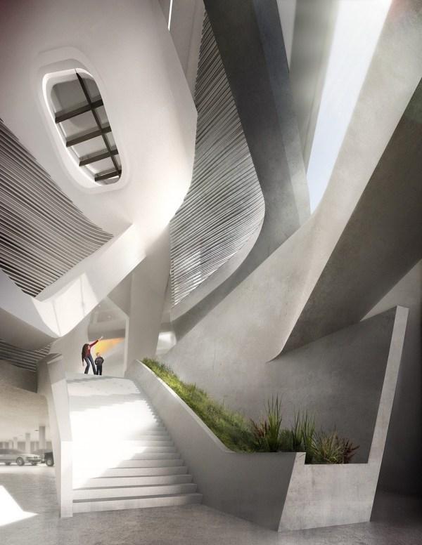 Main stair below atrium with park path connection (right), Image Courtesy © PLUS-SUM Studio
