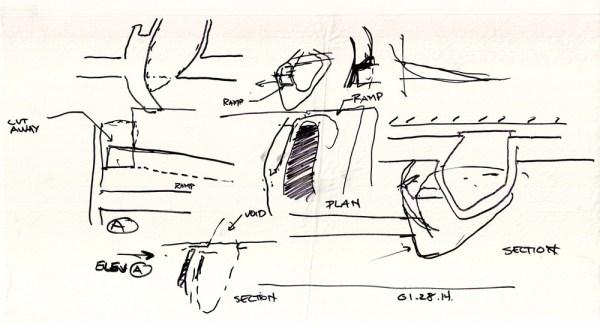 Sketch 04_Coss-void poche as circulation, Image Courtesy © PLUS-SUM Studio