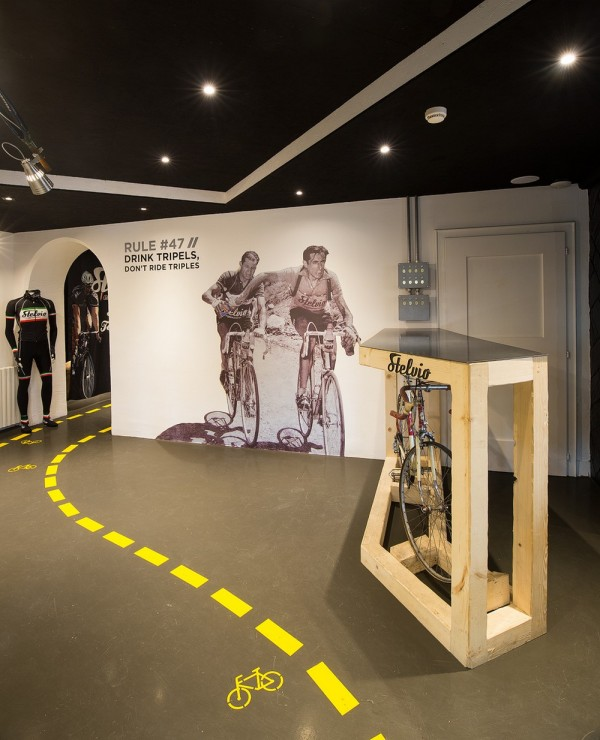 A picture on the wall celebrates two legends of cycling,Image Courtesy © Bellotti Enrico Architects