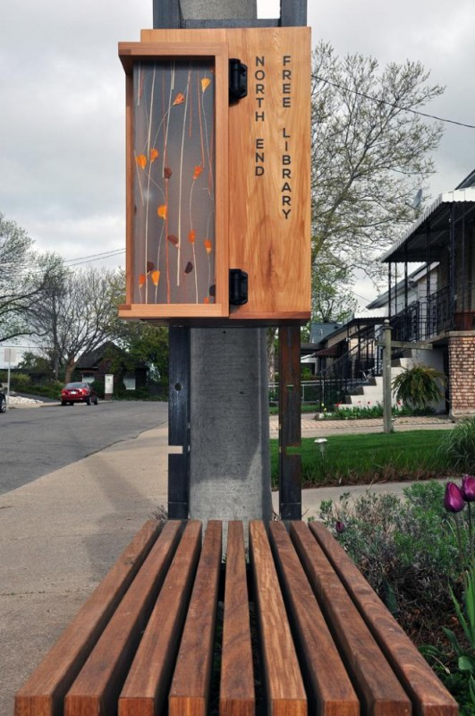 Exterior view of bench and library cabinet, Image Courtesy © TCA/Thier + Curran Architects
