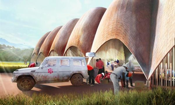 Droneport exterior dropoff, Image Courtesy © Foster + Partners