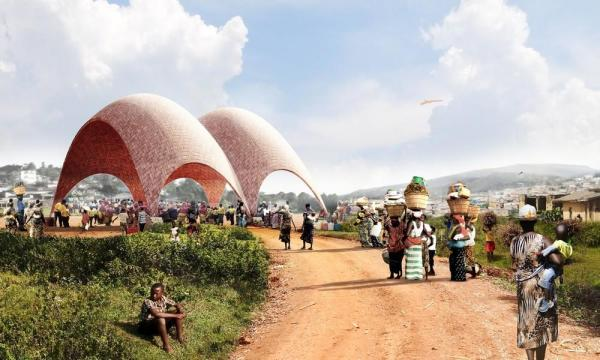 Droneport exterior payload drop, Image Courtesy © Foster + Partners