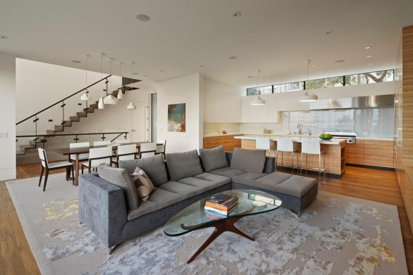 "The open plan allows the ""public"" living areas to blend into one another, Image Courtesy © Bruce Damonte"