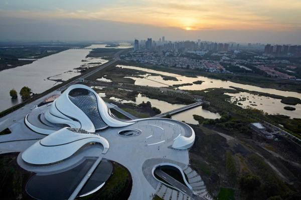 Harbin Opera House, aerial view from the east, Image Courtesy © Hufton+Crow
