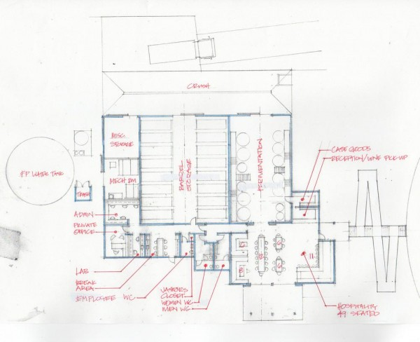 A hand-sketch of the Titus Winery building plan illustrates the integration of Hospitality and Production spaces in one unified composition.  Hospitality spaces cluster on the west face of the building to take advantage of the vineyard view while Production spaces face the nearby road to expedite the flow of winemaking,  Image Courtesy © MH Architects