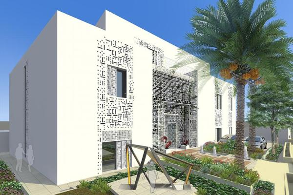 House Main entrance ,courtyard with Overhangs Mesh screening and 3D GFRC Façades Screens simulated from Qatari Naqash facade, Image Courtesy © Ark-Kassam Architects