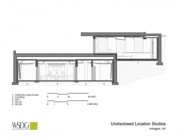 Undisclosed Location Studio Presentation Drawing, Image Courtesy © Walters Storyk Design Group (WSDG)
