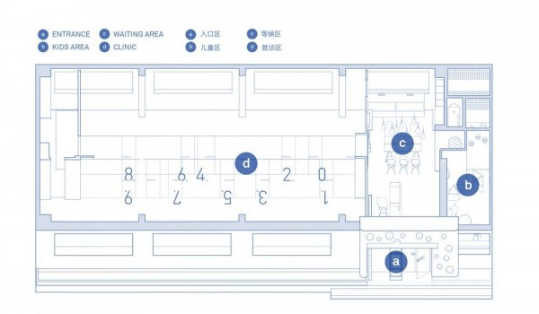 Floor Plan:a. Entrance   b. Kids Area   c. Waiting Area   d. Clinic, Image Courtesy © RIGI Design