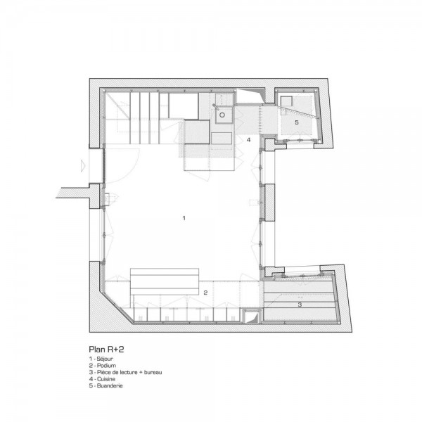 Second floor plan, Image Courtesy © L'atelier miel and Mickaël Martins Afonso, Designer