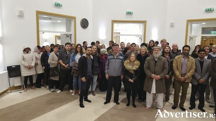 Galwegians standing in solidarity with the Ahmadiyya Muslim Community at the Masjid Maryam following Monday night's Islamophobic vandalism.