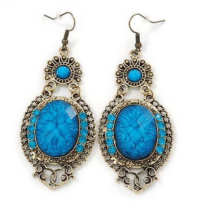 Victorian Style Blue Acrylic Bead Crystal Chandelier Earrings In Antique Gold Tone 80mm L