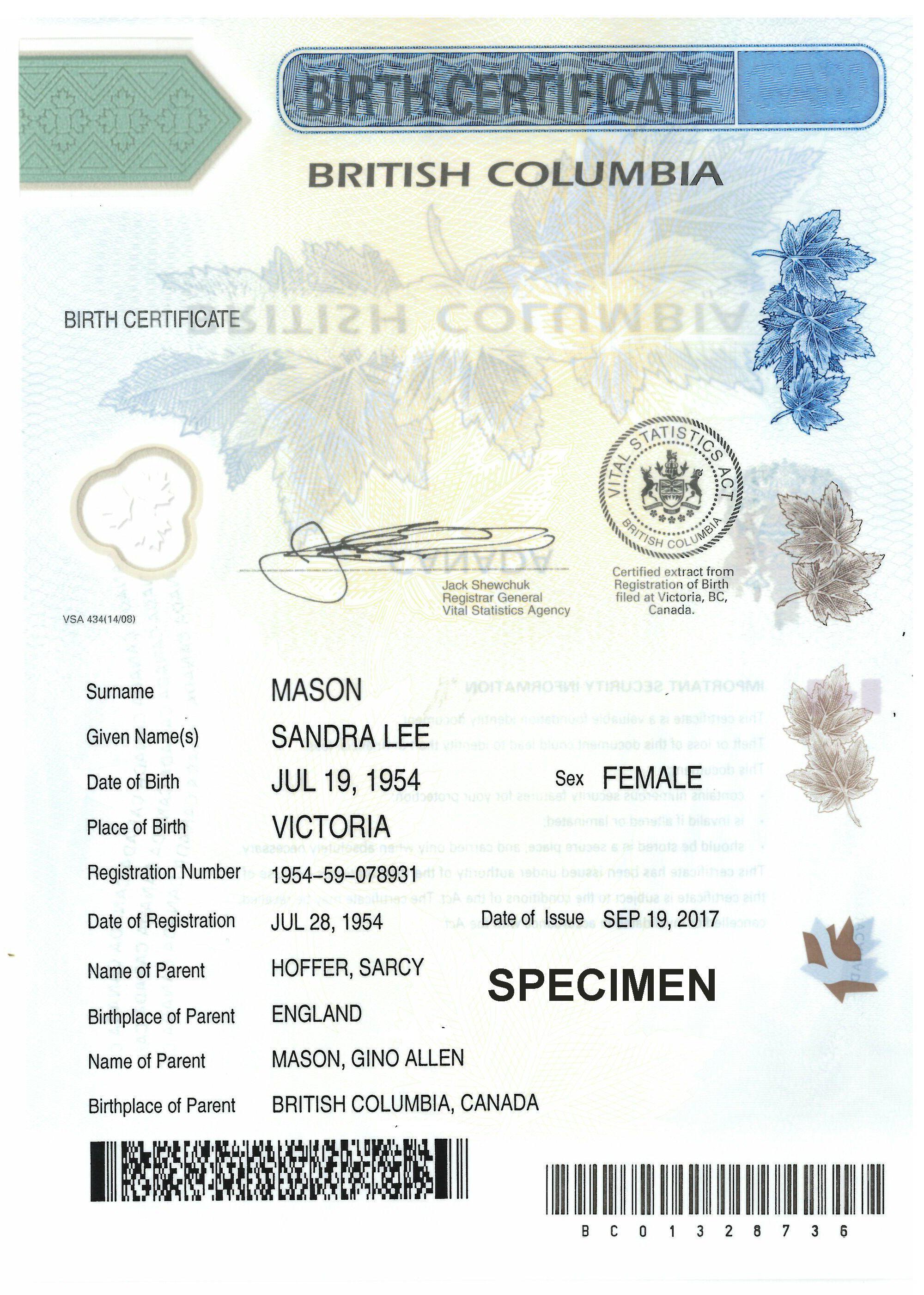 Birth Certificates Province Of British Columbia